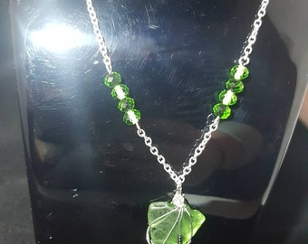 Green seaglass silver chain necklace