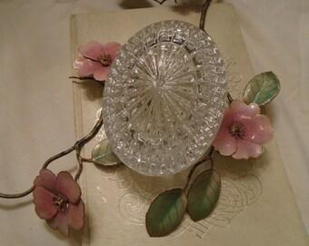 Glass Oval Trinket Jar  Dresser Or Vanity Jar