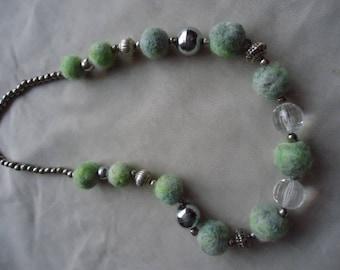 Handmade Felt and Vintage Bead Necklace