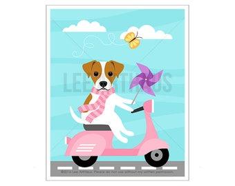 291D Dog Print - Jack Russell Dog on Pink Vespa Wall Art - Vespa Print - Dog Nursery - Dog Drawing - Jack Russell Print - Jack Russell Art