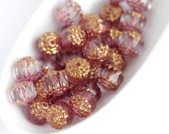 15pcs 8mm Crystal Bronze Cathedral Czech Glass Beads with golden ends, round, fire polished,