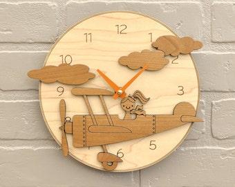 Airplane Nursery Clock Wood Kids Airplane Decor