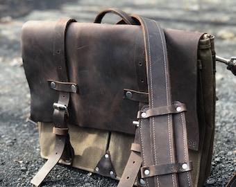 Messenger satchel briefcase vintage upcyle