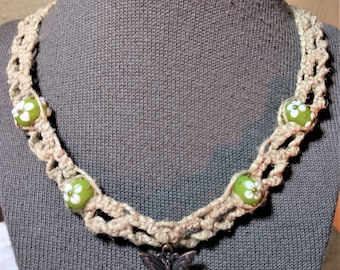 Macrame Natural Hemp Necklace with Butterfly pendant