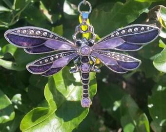Dragonfly Crystal Keyring