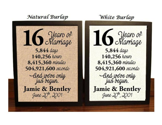 16th Wedding Anniversary Traditional Gift: 16th Anniversary 16 Year Anniversary 16th Anniversary Gift