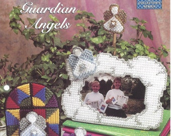 Plastic Canvas Pattern Guardian Angels - Angel Frame, Home Decor, Plant Poke, Stained Glass Window, Picture Frame