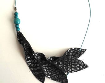 Adjustable black leather and Silver - Blue wood beads necklace