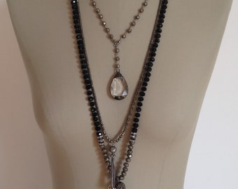 Boho Necklace, Soldered Chandelier Crystal Pendant, Pyrite Rosary Chain, Adjustable Sterling Closure, Bohemian
