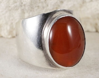NAKAI Oval Carnelian sz 8 Sterling Wide Band RIng Vintage