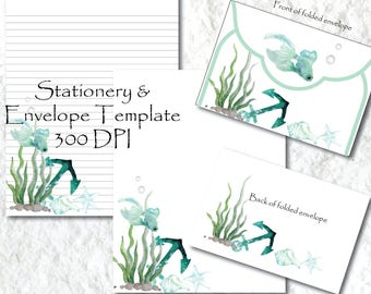 Ocean Fish Printable Stationery Paper Printable Stationary Paper Writing Paper Envelope Template Note Paper