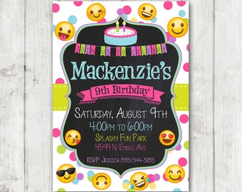 Printable Emoji Birthday Party Invitation, Emoji invitations, Custom Smiley Face Birthday Invitation, Girl Emojis Bday Invite, Emoticon Bday