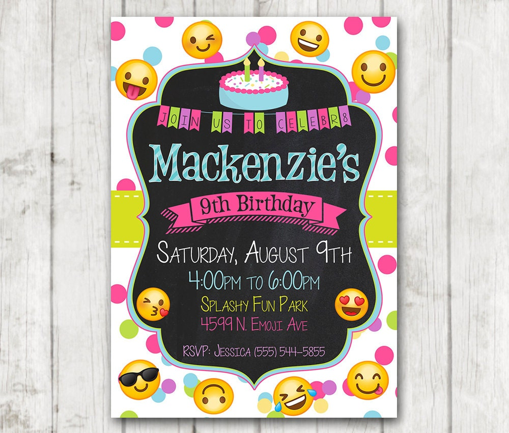 Printable Emoji Birthday Party Invitation Emoji invitations