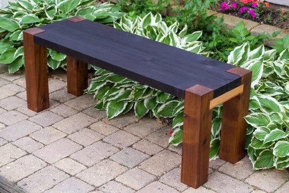 Outdoor Wood Bench Modern Rustic Patio Garden