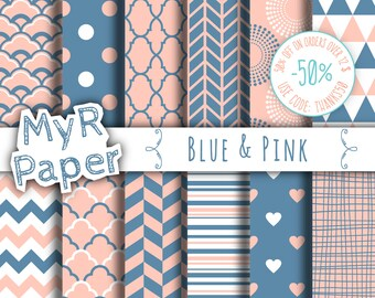 "Digital paper: ""Blue & Pink"" pack for scrapbooking, invite, card – fans, japanese, dots, hearts, stripes, chevron, moroccan"