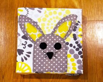 Polka Dot Bunny - Gray & Yellow - Nursery Wall Art - Toddler Room Wall Art - Fabric Canvas Print - In Stock Ready to Ship