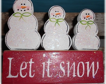 Let It Snow Blocks Red And White Or Green And White With Set Of 3 Wood Snowmen Wood Custom Decoration Holiday Blocks Personalized Snowmen