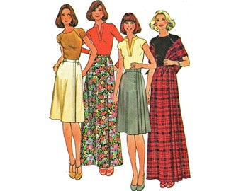 1970s Wrap Front Maxi Skirt Pattern Side Pleated Skirt and Shawl Out of Print Sewing Pattern McCalls 5156 Waist 30 UNCUT