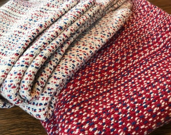 Handwoven Dish Towels in Red White and Blue