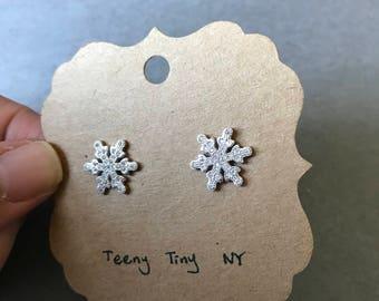 Silver CZ Snowflake Stud Earrings - Sterling Silver
