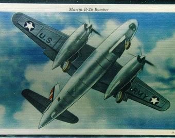 Vintage Linen Martin B-26 Bomber Unused WWII