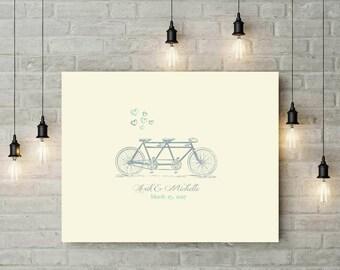 Wedding Bike Thumbprint Guestbook Alternative | Tandem Bicycle Fingerprint Guestbook | Bridal Shower Bicycle Fingerprint Guestbook - 70577