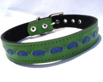 XL Cool Leather Dog Collar Green and Blue