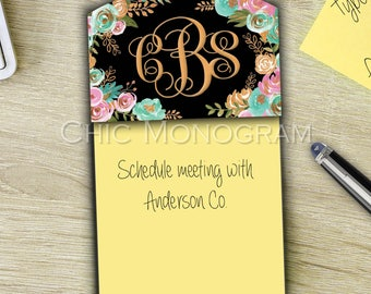 Promotion Gifts For Co Workers Monogrammed Sticky Note Holder For Coworkers Monogram Desk Accessories Welcome Gift for New Employees