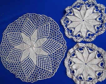 Lot of 3 Doilies Floral Star center handmade Vintage Crochet