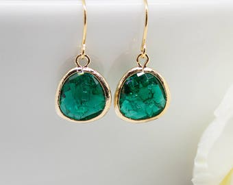 Earrings Gold Green emerald Emerald broken