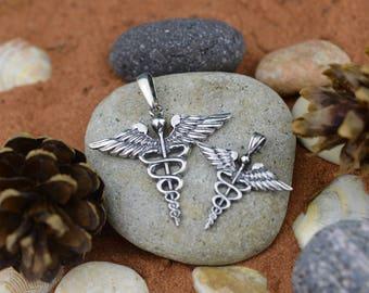 Handmade Pendant Caduceus. Medical Caduceus. Doctor Talisman. Caduceus Necklace. Gift For Doctor. Present For Nurses. Doctor Necklace