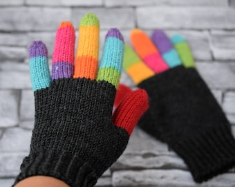 Womens winter gloves, medium thick wool, customized gloves, wool gloves, dark grey and rainbow striped mittens, mother daughter set