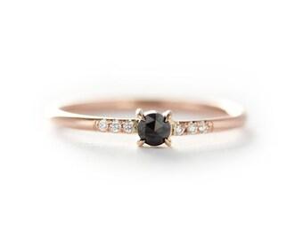 Black Rose Cut Diamond Engagement Ring With White Diamond In Micro Pave Setting,14k Rose,Yellow Or White Gold Black Diamond Stacking Ring