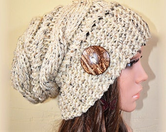 Slouchy beanie hat with button -OATMEAL TweeD (or Choose Color) Cable style - Oversized - chunky - handmade - baggy - gift