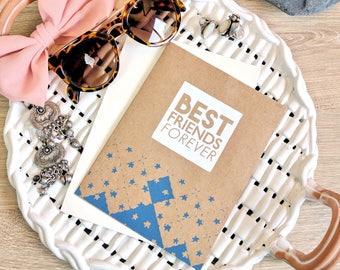 Best Friends Forever Card -  Screen Printed w/ BFF, Quilted Starry Design & White and Blue Denim Ink
