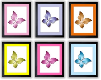 Colorful Butterfly Print Butterflies Butterfly Art Prints Mix Match Bathroom Print Wall Decor Modern Minimalist