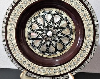 Vintage Egyptian Wood Hand Made Plate, Inlaid Design With Different Color Mother of Pearl And Agate. Domed Center, 8 inch