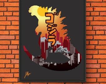 Minimalism Poster - Godzilla