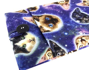 """Women's Laptop Sleeve 15.6"""" - Custom Sized To Your 15 Inch Laptop - Padded With Pocket, Space Cat Fabric"""