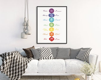Chakra Meditation Wall Art - Chakra Print - Yoga Studio Decor - Rainbow Chakra Art - Meditation Decor - Yoga Print - Reiki Wall Art, Chakras