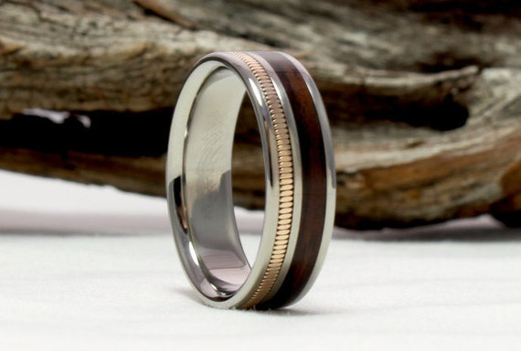 keys wood band ring titanium santos men wedding with inlay dp silver real rosewood engagement rings for three jewelry