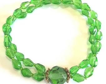 Emerald Green Glass Faceted Bead Bracelet, Handmade Bead Jewelry, Green Bangle Bracelet, Double Strand Stretch Bracelet