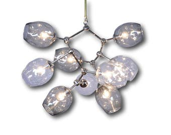 9 Globe Hand Blown Jack and Jill Clear and Gray Glass  Jane  Branch Chandelier Hanging Light Sculpture