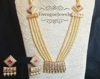 Indian jewelry, Pearl necklace, Wedding Jewelry, Indian Necklace, Pakistani jewelry, Hyderabadi jewelry, Nizam, Bollywood jewelry, Necklace.