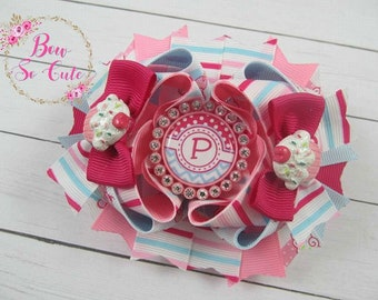 Layered Boutique Bow - Cupcakes and Stripes