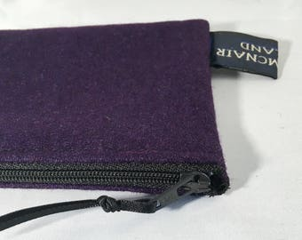 Plum Wool Blend Wallet Purse with Black Zip 5x3 inch Ready to Ship Girls Women Gift