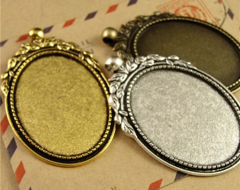 10 Pendant Trays- 30x40mm Filigree Leaf Frame Oval Bezel Setting W/ Loop, Antique Silver/ Antique Bronze/ Antique Gold available- HA3794