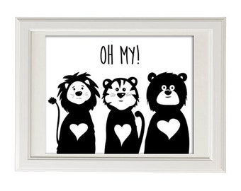 lions and tigers and bears oh my! – Baby nursery wall art
