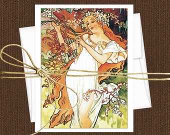 Alphonse Mucha Cards Blank Note Cards  Set of 10 Cards With Matching Envelopes, Art Nouveau Note Cards