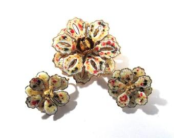 Enamel Brooch & Clip Earrings Multi Color Flower VINTAGE Stunning Enamel Pin Brooch and Earrings Vintage Jewelry Ready to Wear 50's (L199)